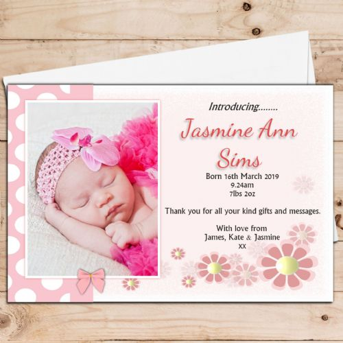 10 Personalised Baby Girl Polka Dot Birth Announcement Thank You PHOTO cards N56